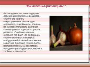 Чем полезны фитонциды ? Фитонцидные растения содержат летучие ароматические в