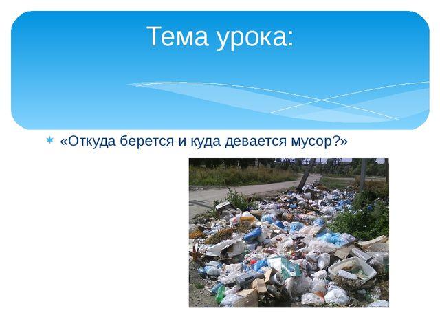 «Откуда берется и куда девается мусор?» Тема урока: