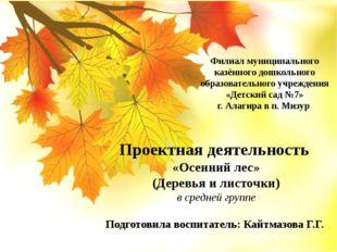 Проектная деятельность «Осенний лес» (Деревья и листочки) в средней группе По