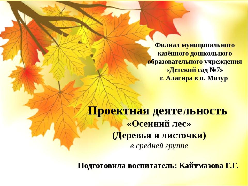 Проектная деятельность «Осенний лес» (Деревья и листочки) в средней группе По...