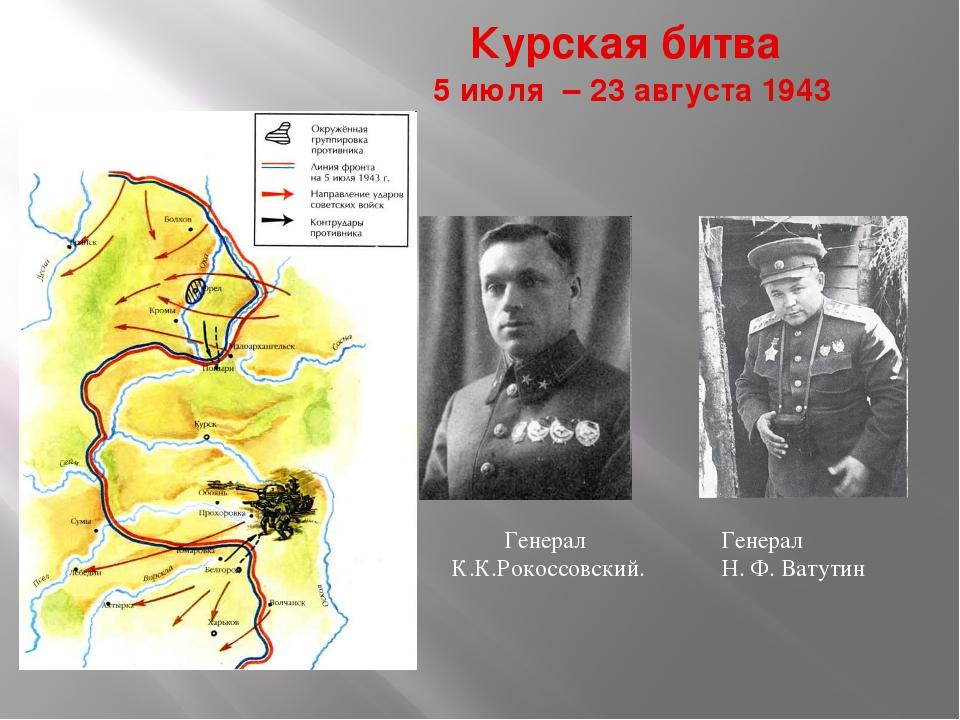 Курская битва 5 июля – 23 августа 1943 Генерал К.К.Рокоссовский. Генерал Н. Ф...