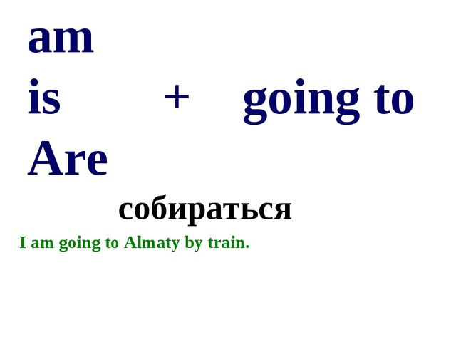 am is + going to Are собираться I am going to Almaty by train.