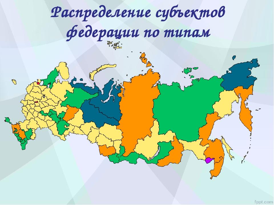 Распределение субъектов федерации по типам