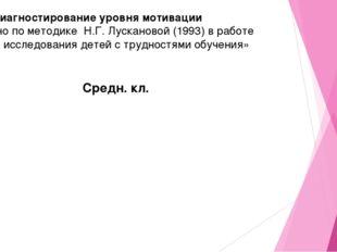 Диагностирование уровня мотивации проведено по методике Н.Г. Лускановой (199