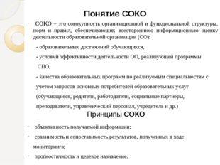Понятие СОКО СОКО – это совокупность организационной и функциональной структу