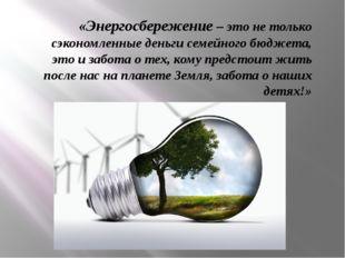 «Энергосбережение – это не только сэкономленные деньги семейного бюджета, это