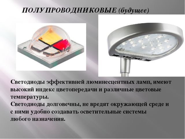 ПОЛУПРОВОДНИКОВЫЕ (будущее) Светодиоды эффективней люминесцентных ламп, имеют...