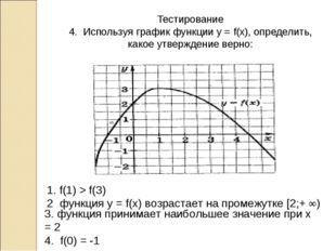 Тестирование 4. Используя график функции у = f(x), определить, какое утвержде