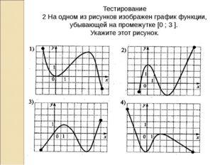Тестирование 2 На одном из рисунков изображен график функции, убывающей на пр
