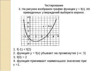 Тестирование 3. На рисунке изображен график функции у = f(x). Из приведенных
