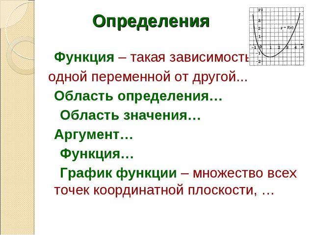 Функция – такая зависимость одной переменной от другой... Область определен...