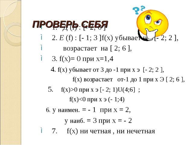 1. Д (f) : [- 2; 6 ] 2. Е (f) : [- 1; 3 ]f(x) убывает на [- 2; 2 ], возрастае...