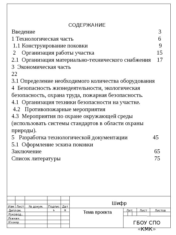 СОДЕРЖАНИЕ Введение 3 1 Технологическая часть 6 1.1 Конструиро...