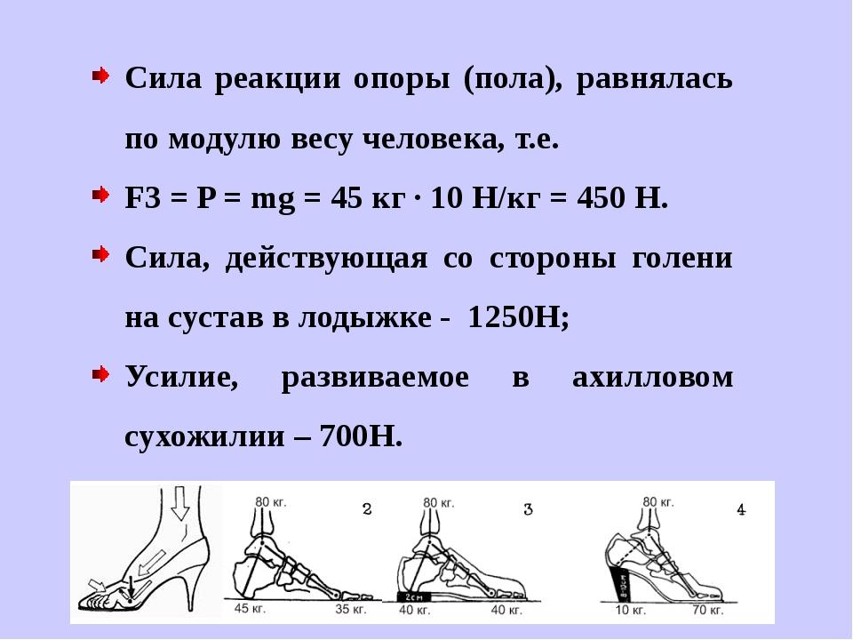 Сила реакции опоры (пола), равнялась по модулю весу человека, т.е. F3 = P = m...