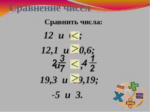 Сравнение чисел 12 и 62; 12,1 и 10,6; и ; 19,3 и 19,19; -5 и 3. Сравнить числа:
