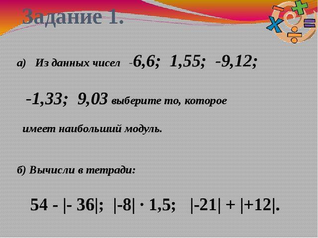 Задание 1. а) Из данных чисел -6,6; 1,55; -9,12; -1,33; 9,03 выберите то, кот...