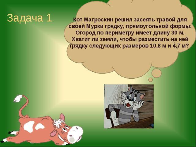 Задача 1 Кот Матроскин решил засеять травой для своей Мурки грядку, прямоугол...