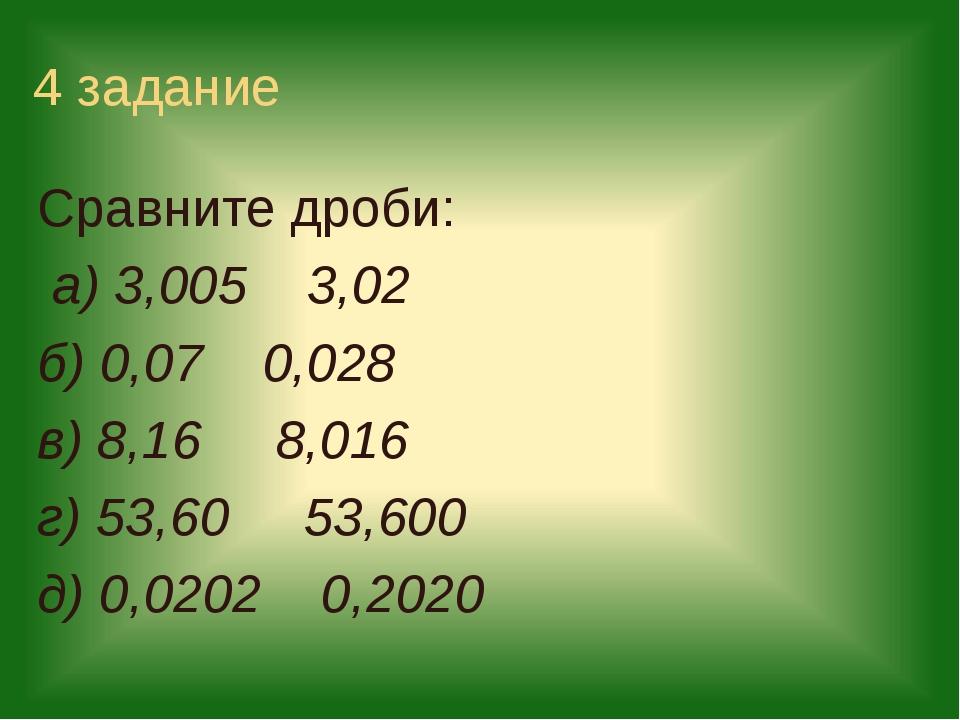 4 задание Сравните дроби: а) 3,005 3,02 б) 0,07 0,028 в) 8,16 8,016 г) 53,60...