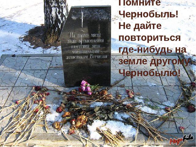Помните Чернобыль! Не дайте повториться где-нибудь на земле другому Чернобылю!