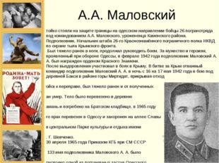 А.А. Маловский Стойко стояли на защите границы на одесском направлении бойцы