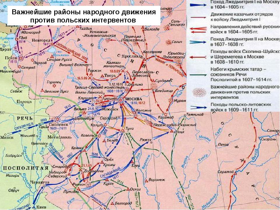 Важнейшие районы народного движения против польских интервентов