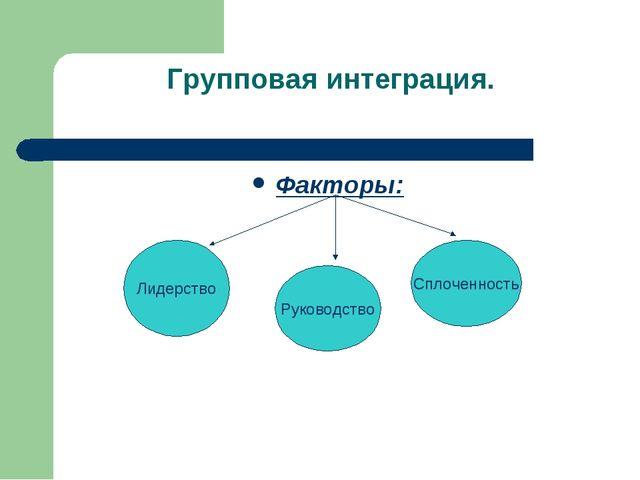 Групповая интеграция. Факторы: Лидерство Руководство Сплоченность