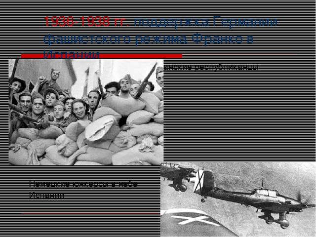 1936-1938 гг. поддержка Германии фашистского режима Франко в Испании Испански...