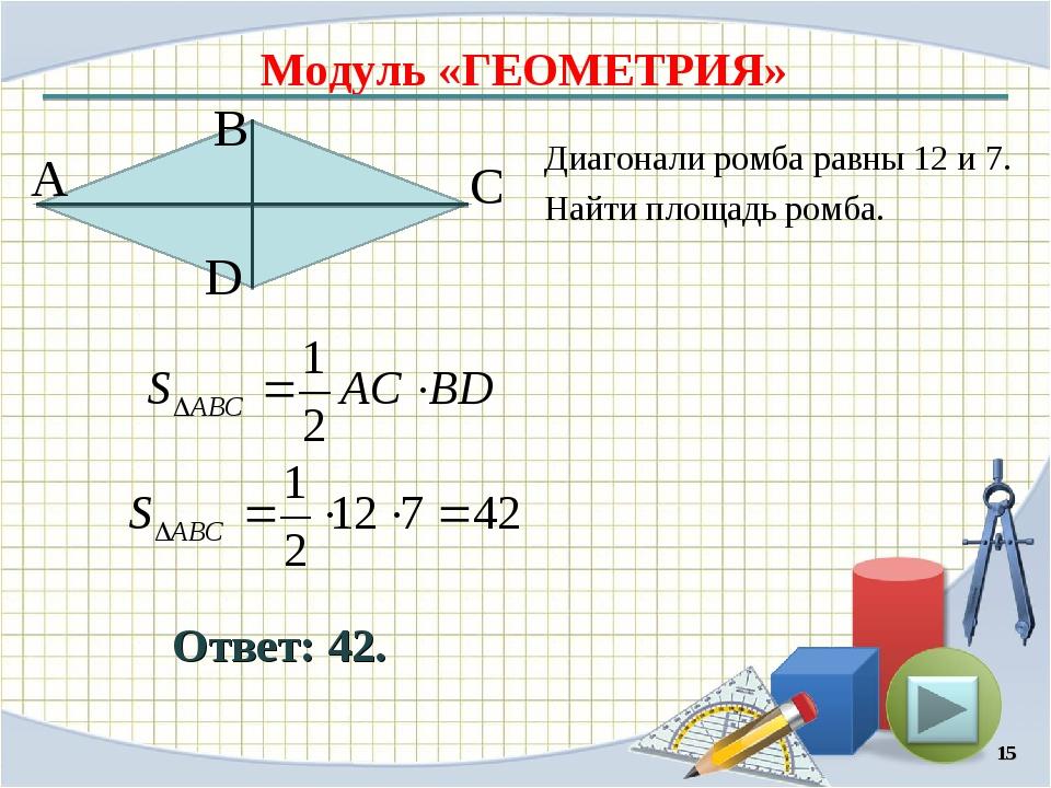 Модуль «ГЕОМЕТРИЯ» Ответ: 42. Диагонали ромба равны 12 и 7. Найти площадь ром...