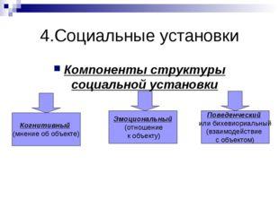 4.Социальные установки Компоненты структуры социальной установки Когнитивный