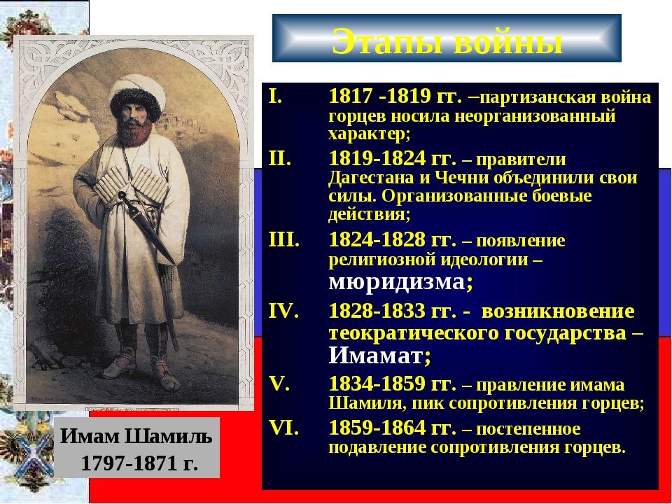 Этапы войны 1817 -1819 гг. –партизанская война горцев носила неорганизованный...