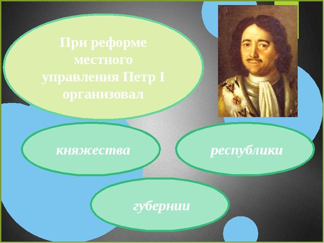 При реформе местного управления Петр I организовал княжества губернии республ...