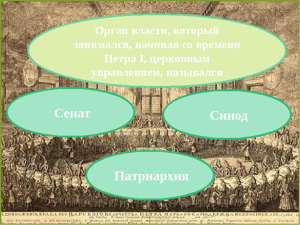 Орган власти, который занимался, начиная со времени Петра I, церковным управл...