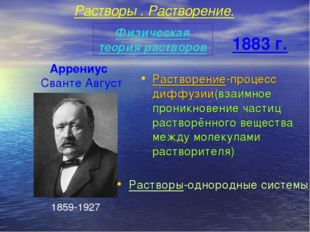 Сванте Август Физическая теория растворов 1859-1927 Растворение-процесс дифф