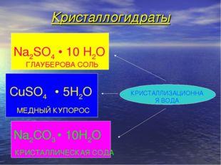 Кристаллогидраты КРИСТАЛЛИЗАЦИОННАЯ ВОДА CuSO4 • 5H2O Na2CO3 • 10H2O КРИСТАЛЛ