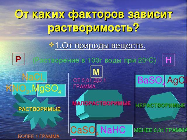 От каких факторов зависит растворимость? 1.От природы веществ. (Растворение в...