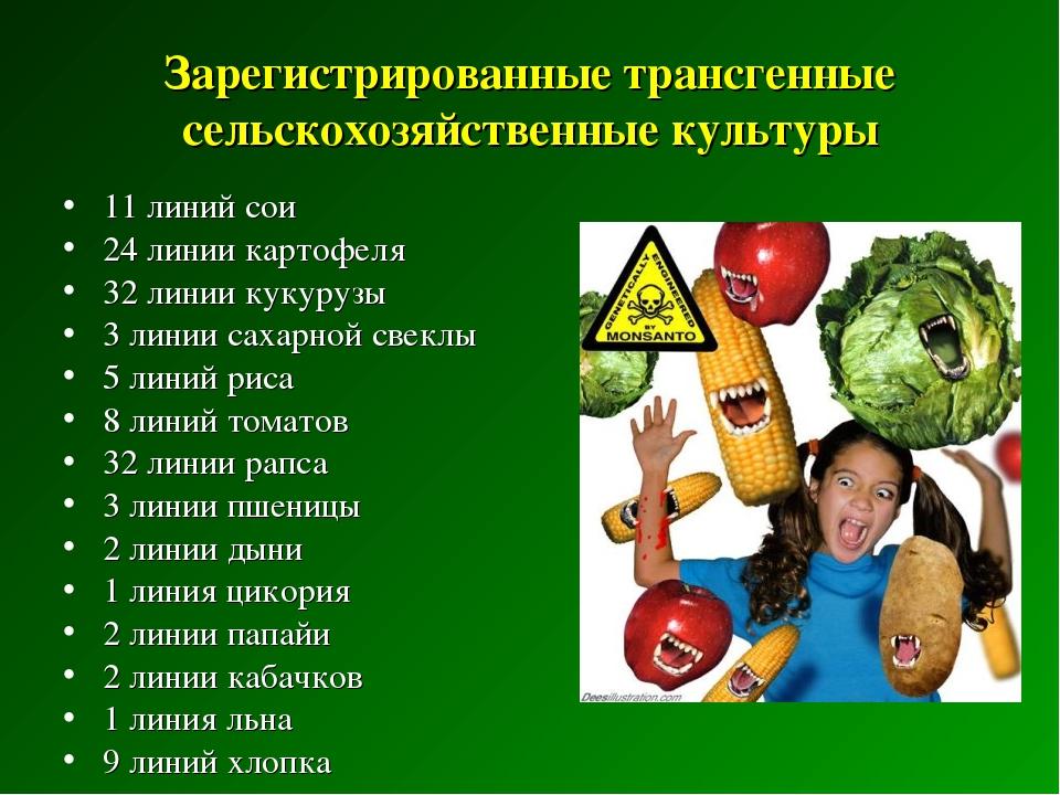 Зарегистрированные трансгенные сельскохозяйственные культуры 11 линий сои 24...
