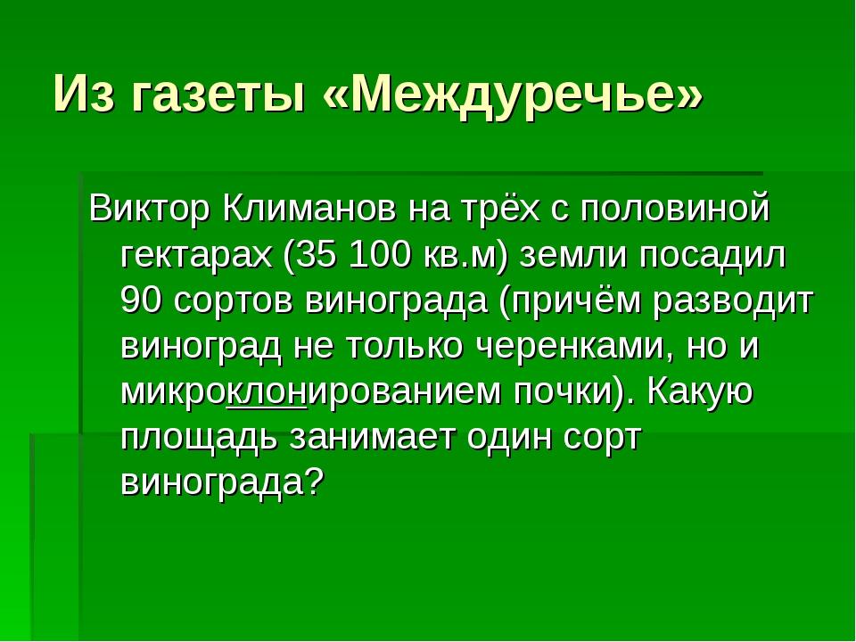 Из газеты «Междуречье» Виктор Климанов на трёх с половиной гектарах (35 100 к...