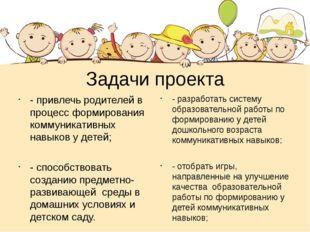 Задачи проекта - привлечь родителей в процесс формирования коммуникативных на