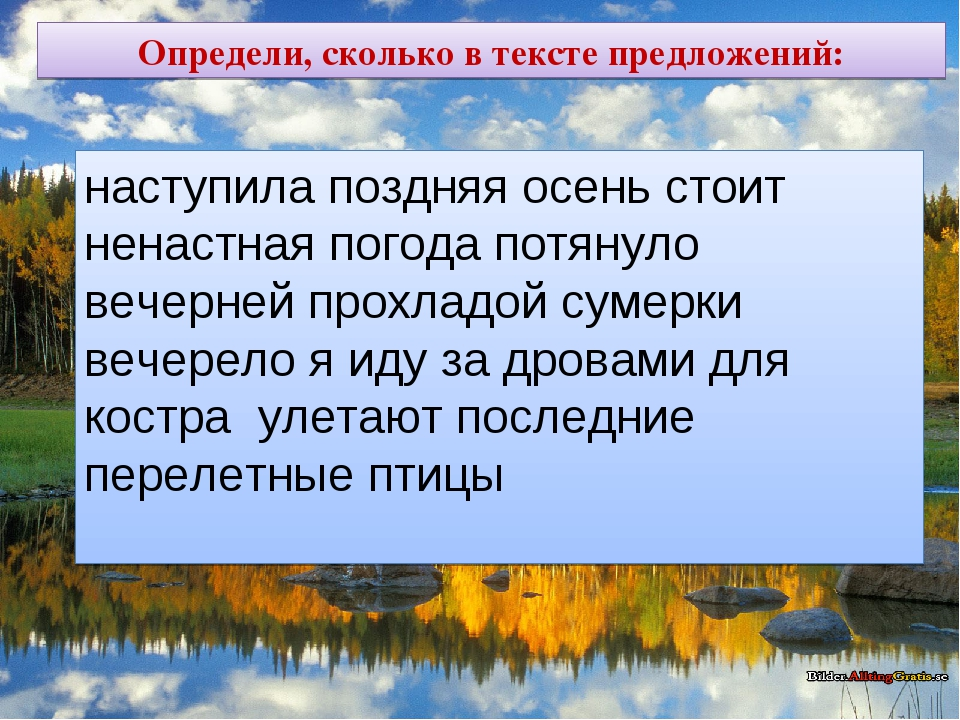 Определи, сколько в тексте предложений: наступила поздняя осень стоит ненастн...