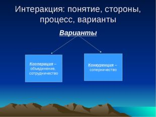 Интеракция: понятие, стороны, процесс, варианты Варианты Кооперация – объедин