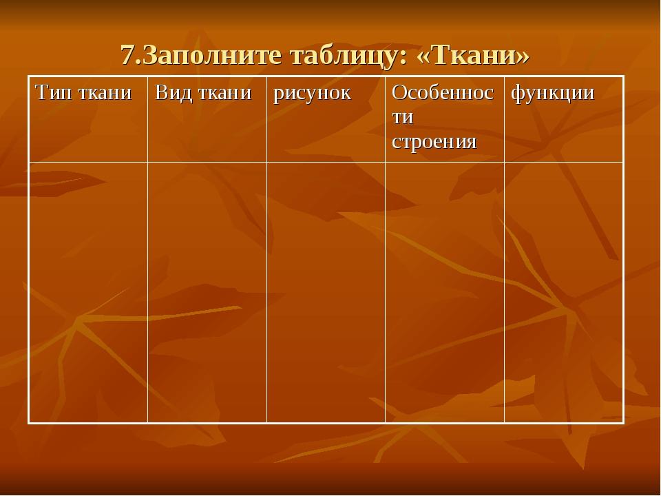 7.Заполните таблицу: «Ткани» Тип тканиВид тканирисунокОсобенности строения...