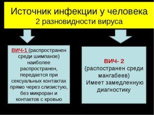 Источник инфекции у человека 2 разновидности вируса ВИЧ-1 (распространен сред