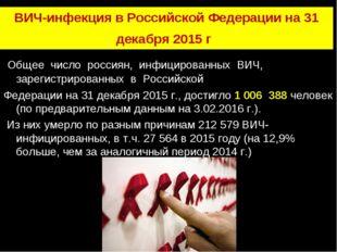 ВИЧ-инфекция в Российской Федерации на 31 декабря 2015 г. Общее число россиян
