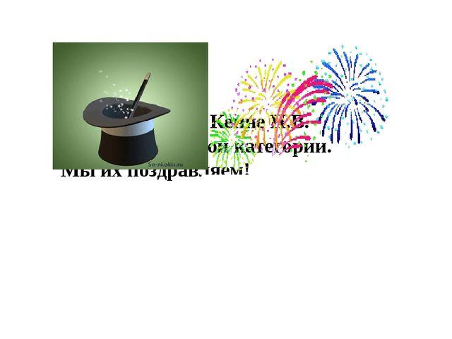 Кондакова Е.В., Кенне Н.В. подтвердили свои категории. Мы их поздравляем!