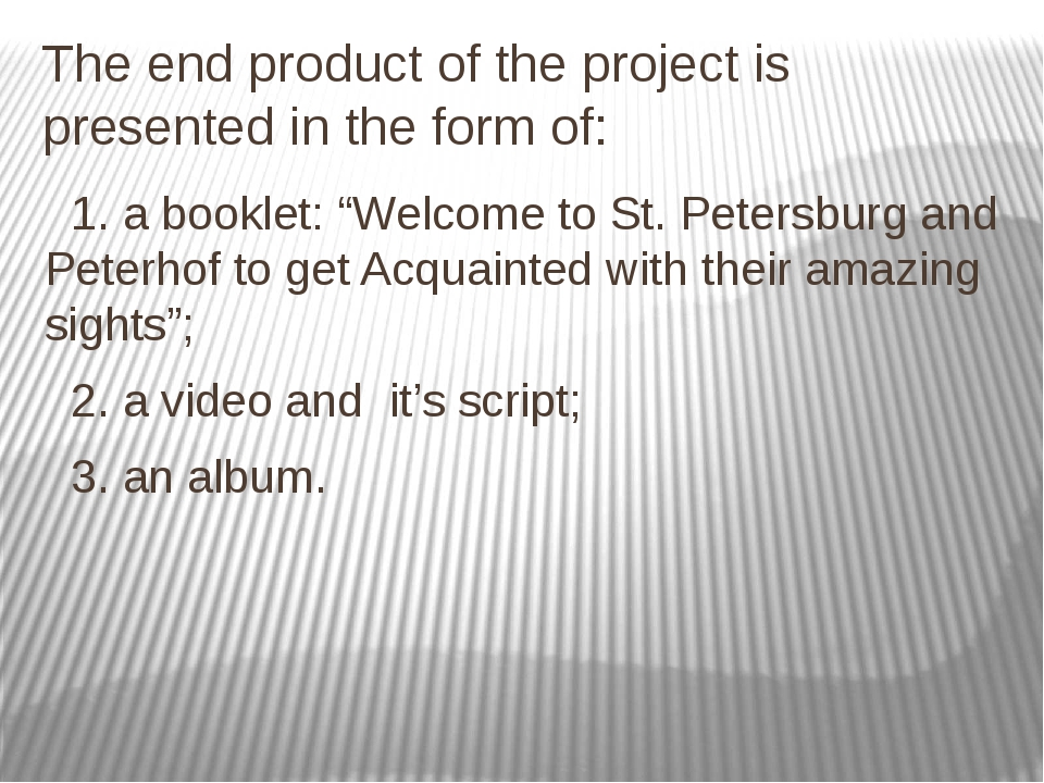 """The end product of the project is presented in the form of: 1. a booklet: """"We..."""