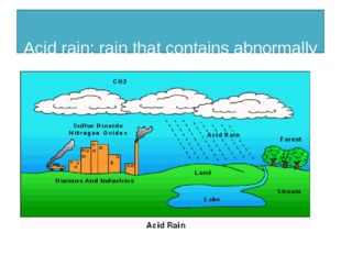 Acid rain: rain that contains abnormally high concentrations of acid.