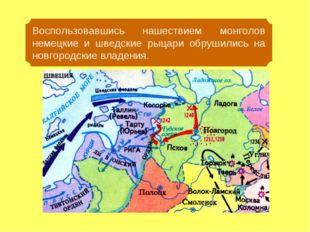 Воспользовавшись нашествием монголов немецкие и шведские рыцари обрушились на
