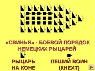 * «СВИНЬЯ» - БОЕВОЙ ПОРЯДОК НЕМЕЦКИХ РЫЦАРЕЙ РЫЦАРЬ НА КОНЕ ПЕШИЙ ВОИН (КНЕХТ)
