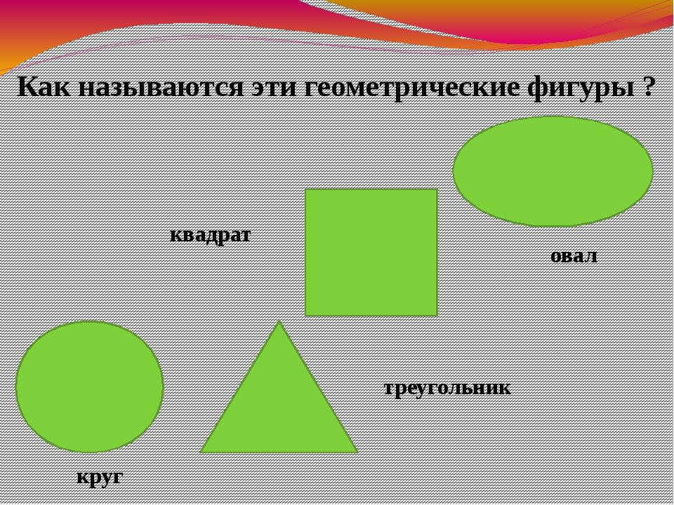 Как называются эти геометрические фигуры ? квадрат треугольник овал круг