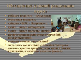 Обеспечение условий реализации курса: кабинет педагога – психолога; сенсорная